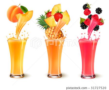 Set of fruit juice splash in a glass.  31727520