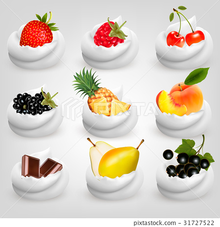 Big collection of fruit in cream. 31727522