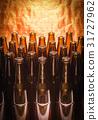 Rows of brown color empty bottles beer 31727962