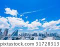 """""""東京都""""白雲和城市景觀""""初夏"""" 31728313"""