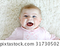 Portrait of cute adorable newborn baby child 31730502