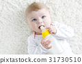 Cute adorable ewborn baby girl holding nursing 31730510