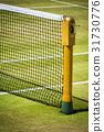 Tennis net on professional grass court in sunshine 31730776