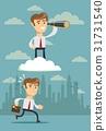 successful businessman with telescope on cloud 31731540