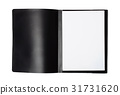 Front view of  file folder with blank paper sheets 31731620