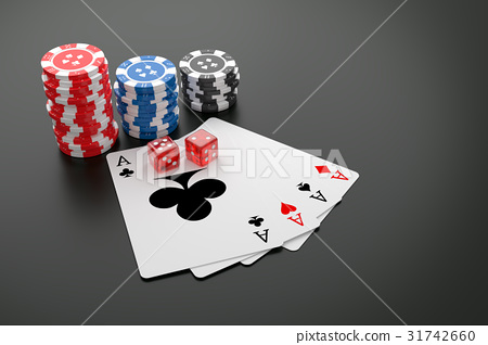 Poker chips, Playing cards and Casino dice. 31742660