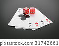 Playing cards and Casino dice on table. 31742661