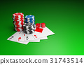 Poker chips, Playing cards and Casino dice. 31743514