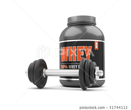 Whey protein with dumbbells on white background. 31744112