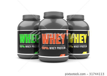 Whey protein on white background. 31744113