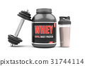 Whey protein with dumbbells on white background.  31744114