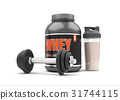 Whey protein with dumbbells on white background.  31744115