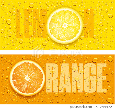 lemon and orange juice background with water drops 31744472