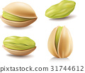 group of pistachio nuts isolated on white 31744612