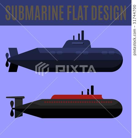 submarine flat design 31744700