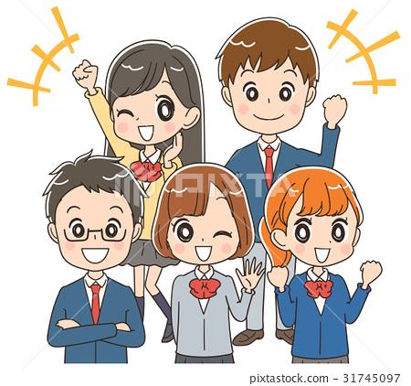 一群精力充沛的高中学生的插图素材 31745097