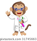 Monkey Conducting a Laboratory Experiment 31745663