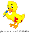 Cute duck carrying book and pencil 31745679