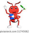 Cute ant carrying boo and pencil 31745682