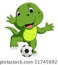 Cute crocodile playing football 31745692