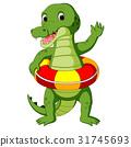 Cute crocodile using ring ball cartoon 31745693