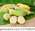 raw banana on wooden 31746829