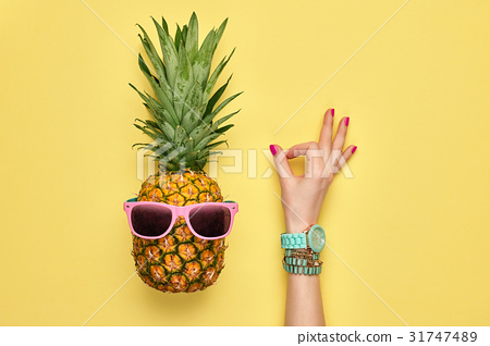 Fashion Hipster Pineapple. OK, YES Gesture.Minimal 31747489