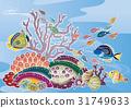 紅海風的風景看法在沖繩島 - 熱帶魚和珊瑚 31749633
