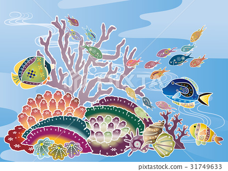 홍형 바람 오키나와의 바다 풍경 - 열대어와 산호 31749633