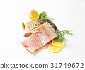 Raw carp fillets 31749672