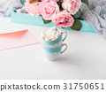 Two cups card Valentine's day envelope and roses 31750651