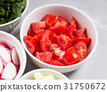 Mix of vegetable bowls for salad or snacks 31750672