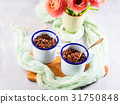 Red quinoa with vegetables in mugs 31750848