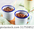 Red quinoa with vegetables in mugs 31750852
