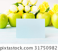Apples pastel green yellow background blank card 31750982