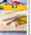 Wood and tools for measuring cutting level 31751345