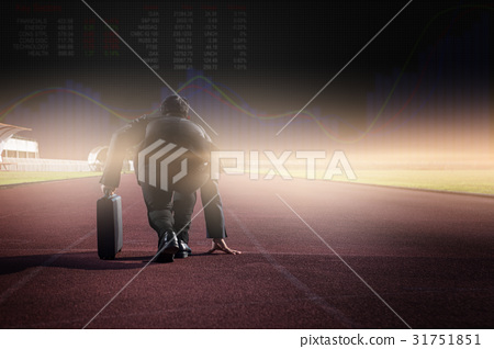 businessman on a track ready for race in business 31751851