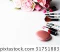 Make up products and tools with pink roses flowers 31751883