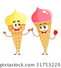 Two funny ice cream cone characters - strawberry 31753220