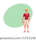Handsome blond football, soccer player in uniform 31753246