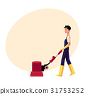 Cleaning service boy, man using floor cleaning 31753252