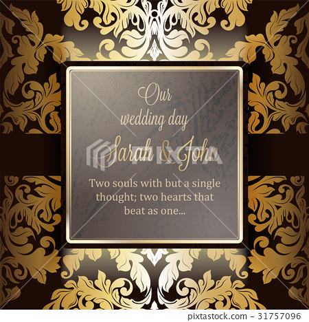 Invitation Card Background With Luxury Gold Frame Stock