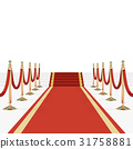 Red carpet with red ropes on golden stanchions 31758881