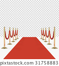 Red carpet with red ropes on golden stanchions 31758883