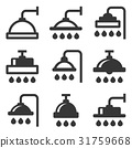 Shower Icon Set on White Background. Vector 31759668