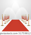 Red carpet with red ropes on golden stanchions 31759812