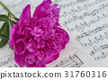 pink peony on old musical notes book 31760316