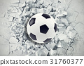 Sport illustration with soccer ball coming in 31760377