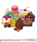 Pile, heap of various cakes, donuts, macaroons and 31760662