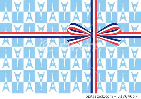 礼品包装:法国国旗图案丝带和埃菲尔铁塔手柄包装 31764057